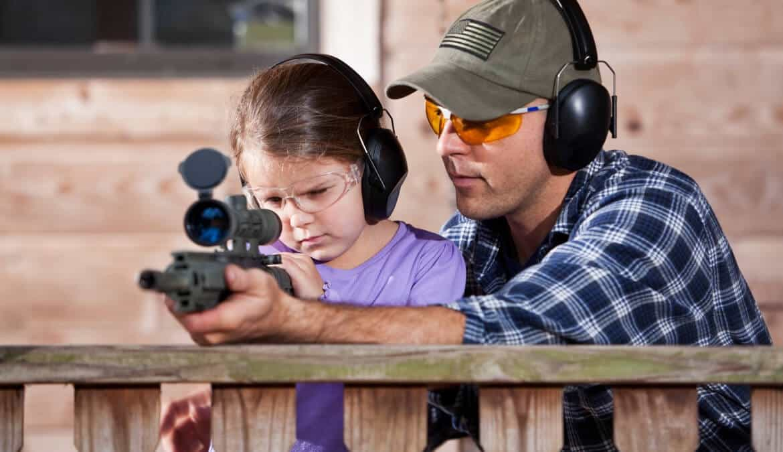 Child at rifle range